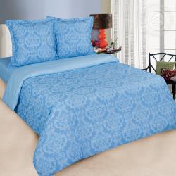 """Купить постельное белье поплин гладкокрашеный """"Византия голубая"""" в Омске"""